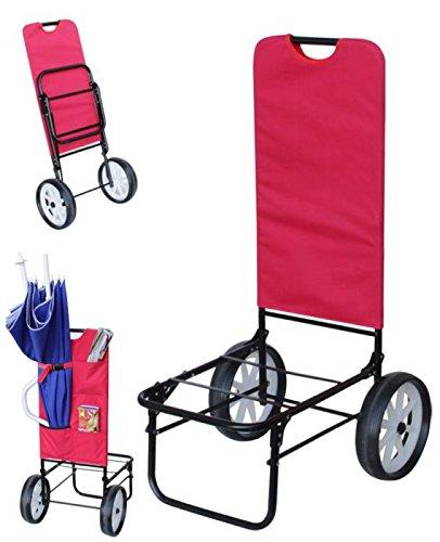 Carrello Porta Sdraio Da Spiaggia.Carrello Mare Con Ruote Color Rosso Trolley Beach Carrellino Porta