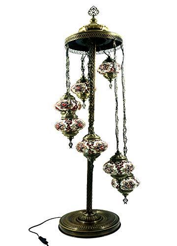 Orientalische Türkische Stil Glasmosaik Ottomane Asiatisch Handgefertigte Mosaik Glas Boden Lampe Innenleuchte Orientalische Lampe Glas Stehlampe Bodenlampe 7 Lichter Glasgröße 2 (Orange-Rot) (Asiatische Orientalische Lampe)