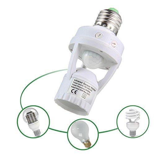 niceEshop(TM) Douille E27 avec Détecteur de Mouvement 360° Automatique Lumière Infrarouge pour Ampoule LED E27 à Visser (Blanc)