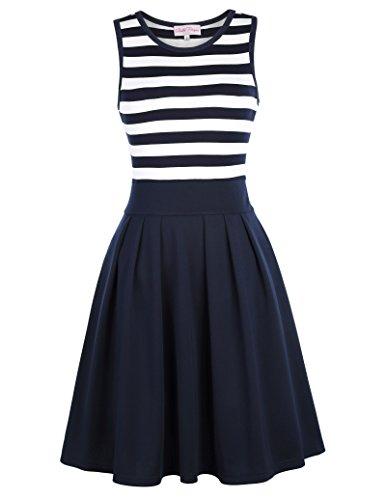Damen Fashion Kleid 50er A-linien Sommer Kleid Strickkleid Swingend Kleid Rundhals Casual Empire Kleid Jerseykleid S BP312-2 (Marine Kleid Baumwolle)