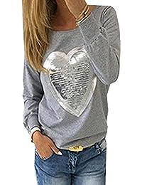 57951f8097dd4 OUFour Femmes à Manches Longues en Forme de Coeur Paillettes Casual T-Shirt  Blouse Haut