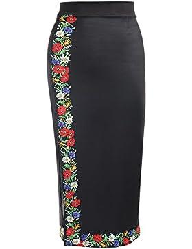 YTJH Falda Mujer Larga Estampanda Cintura Alta con Cremallera Midi Elegante Falda de Lápiz M - 2XL