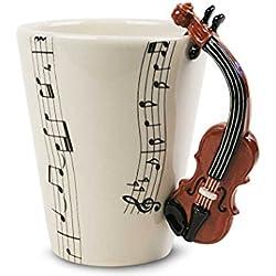 Violin Taza de Café Hecho a Mano 8oz Marrón (10cm x 8cm)