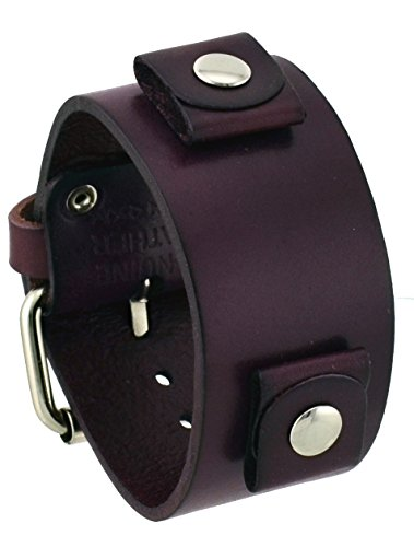Nemesis #GB-P Unisex Purple Wide Leather Cuff Wrist Watch Band
