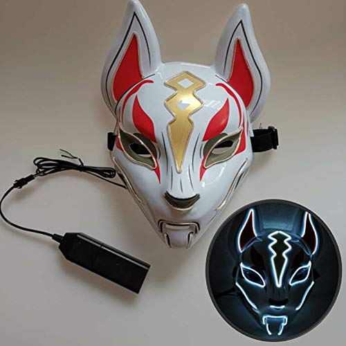 LJFG Halloween LED Maske Glow Fox Maske Christmas Ball Kostüm Party - Kostüm Für White Christmas Party