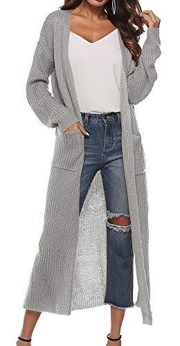 Vertvie Damen Mantel Langarm Open Front Cardigan Strickjacke Asymmetrisch Schnitt Strickmantel Langshirt mit Taschen (EU XS/Etikettengröße S, Grau)