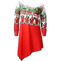 HWTOP Sweatshirts Hoodies Damen Shirt Oberteil Hemd Langer T-Shirt Bluse Pullover Locker Weihnachtsmode Print Sport Freizeit Premium Kleidung Langarmshirt Bluse Frauen Tops Eine Schulter