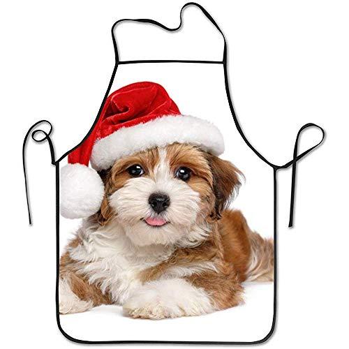 DSFA Puppy Dog trägt eine Weihnachtsmütze Schürzen für Frauen Männer Mädchen Kochen Taille Chef BBQ Einstellbare wasserdichte Schürze 52 * 72cm