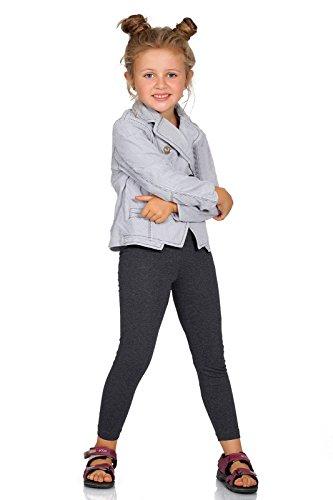 FUTURO FASHION® - Mädchen Leggings aus Baumwolle - warm & dick - lang - einfarbig - 2-13 Jahre - Graphitgrau - 5 Jahre