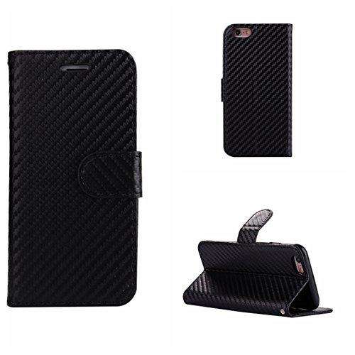 iPhone 6 Plus/6S Plus Coque, Voguecase Étui en cuir synthétique chic avec fonction support pratique pour Apple iPhone 6 Plus/6S Plus 5.5 (Fibre de carbone-Noir)de Gratuit stylet l'écran aléatoire univ Fibre de carbone-Noir