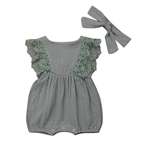squarex Infant Kinder Baby Mädchen Kinder Sleeveless Solid Color Lace Rüschen Strampler Bodysuit Haar Band Outfit Sommer Baby Infant Bodysuit