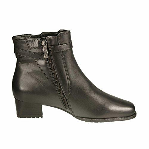 Ara Damen Stiefel/Stiefelette Softcalf-Leder, RV, Velourfutter, 35 mm Absatz, TR-Sohle schwarz Weite H