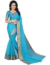Sarees For Women Latest Design(Perfectblue Women`s Cotton Silk Designer Saree With Blouse Piece(Cva9i Variation)