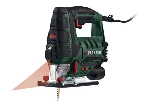 Parkside Scie sauteuse pendulaire pstd 800B2Guidage laser et lumière de travail LED, fonction souffleur pour spanfreie ligne de coupe, raccord pour aspiration des poussières externes, 800W