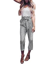 5974ac346673 Hosen Damen Sommer Sport Stretch Slim Fit High Waist Skinny Pluderhosen  Bowtie elastische Taille Streifen…