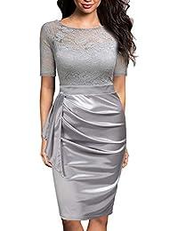 Mmondschein Women s Vintage Lace Short Sleeve Business Pencil Cocktail Dress 30286dc1f35c