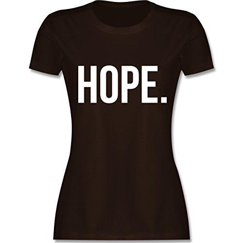 Statement Glaube Religion - Hope Hoffnung weiss - Damen T-Shirt Braun