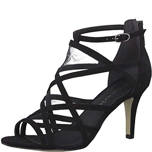 Tamaris 1-1-28003-22 Damen Sandaletten,Sandaletten,Sommerschuhe,offene Absatzschuhe,hoher Absatz,feminin,Black,40 EU