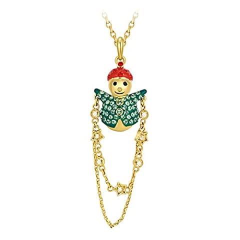 Fanci Women's 18K Gold Plated Swarovski Elements Crystal Christmas Snowman