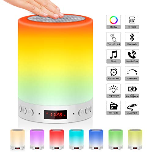 Nachttischlampe Stimmungslicht mit Bluetooth Lautsprecher Wake Up Licht mit FM Radio Digital Wecker Digitaluhr, Urslif USB Touch Control Nachtlicht RGB-Farbwechsel TF-Karte Tischlampe