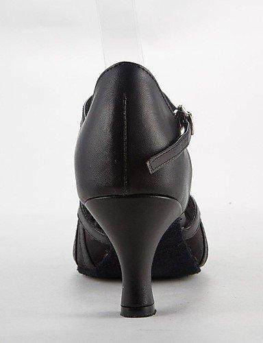 ShangYi Les sandales de femmes latines satin talon aiguille Buckie chaussures de danse Black