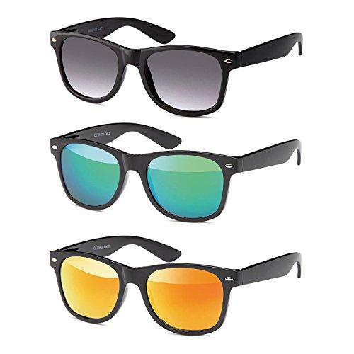 MOKIES Unisex Sonnenbrillen - UV400 Filterkategorie 3 CE Kennzeichnung - Wayfarer Design - Polycarbonat - mit Federscharnier - A-SET Grau verlaufend, Grün, Rot