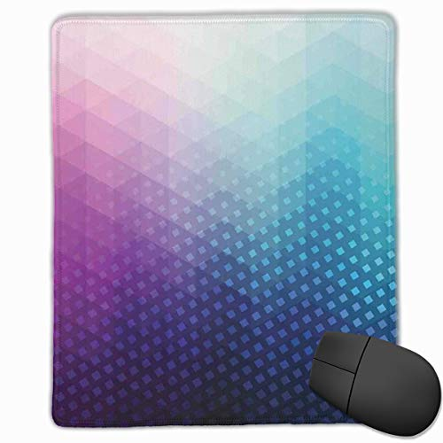 Mouse Mat Stitched Edges, Gradient Background With Little Geometric Fractal Triangle Figures Graphic,Gaming Mouse Pad Non-Slip Rubber Base