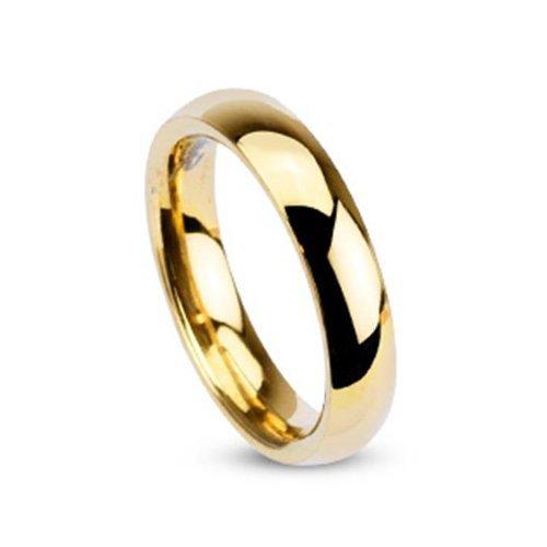 Tapsi´s Coolbodyart®| Klassischer Partner Ehe Ring Edelstahl 4mm Breit Gold Poliert 53(17,5)