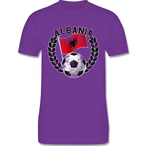EM 2016 Frankreich Albania Flagge Fußball Vintage Herren Premium TShirt Lila