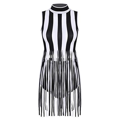 Agoky Damen Streifen ärmellos Kleid mit Fransen Quaste Rock Hohe Taille Slip Maxi Hot Pants Jazz Tanz Kostüm Clubwear Weiß Schwarz gestreift One ()