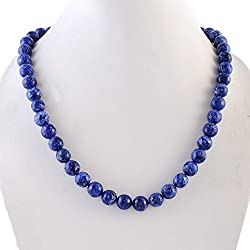 Kastiya Jewels Agate Semi Precious Gemstone Beads Dark Blue Necklace For Women