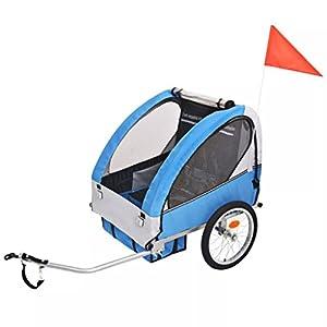 Roderick Irving Fahrradanhänger Kinderfahrradanhänger grau blau 30 kg Fahrradanhänger Sitzfach Maße: 62 x 72 x 61 cm (B…