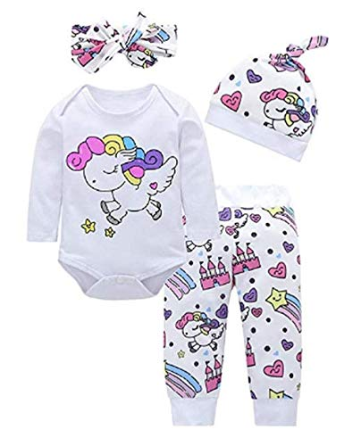 Dcola Baby Mädchen Jungen 4 Stücke Kleidung Sets für 0-18 Monate, Regenbogen Pferd Cartoon Gedruckt Shirts Hosen Hut Haar Strap Outfits
