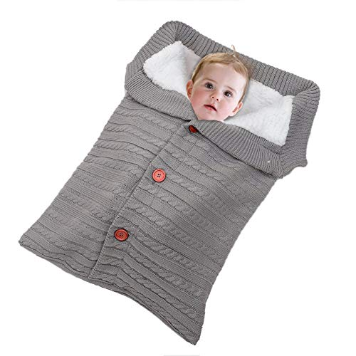 VDROL Baby Neugeborenen Wickeldecke Pull Velvet mit Bouton Kinderwagen Wrap Baby Kinder Komfortable Warme Fleece Kleinkind Wickelschlafsack Sack Kinderwagen für Neugeborene (Baby-dusche-geschenk-sack)