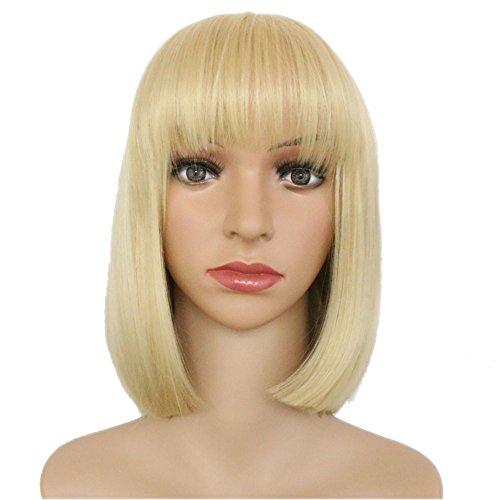 Eseewigs Schöne frauen Kurze Glatte Haare Perücke Honig Blonde Cosplay Perücke Kostüm Party Haar Ordentlich Pony Bob ()