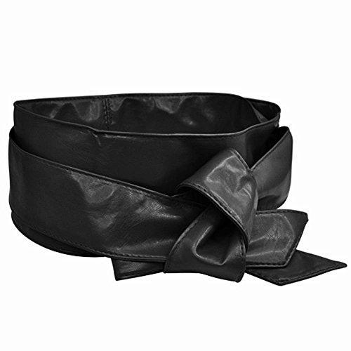 yeah67886PU Leder Lady Schleife Taille Riemen Wrap Korsett Cinch breite Taille Gürtel Band (schwarz) (Cinch Wrap)