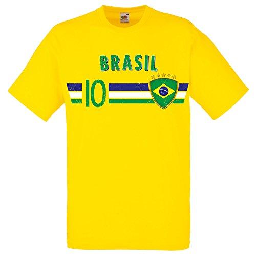 Fußball WM T-Shirt Fan Artikel Nummer 10 - Weltmeisterschaft 2018 - Länder Trikot Jersey Herren Damen Kinder Brasilien Brasil Brazil L -