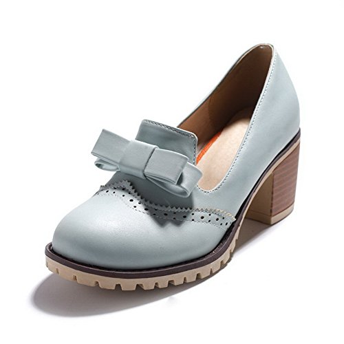 VogueZone009 Femme à Talon Correct Matière Souple Couleur Unie Tire Rond Chaussures Légeres Bleu