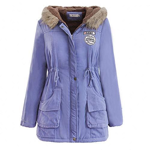 JURTEE Damen Winterjacke,Wintermantel Lange Daunenjacke Jacke Outwear Winter Warm Trenchcoat mit Abnehmbarer Pelzkragen Parka Outwear Mäntel (XXL, Z-1 Himmel Blau)