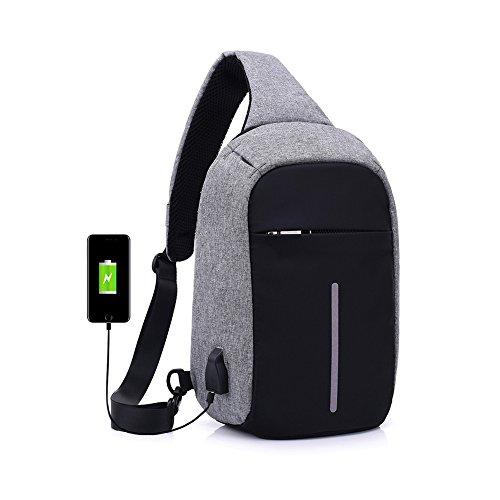 Anti-Diebstahl-Sling Tasche mit USB Lade Port Crossbody Canvas Brust-Tasche für Männer Frauen leichte Schule Travel Rucksack Daypack