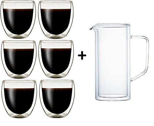 Klasique Doppelwandige Gläser Doppelwandglas 250 ml, Thermoglas mit Schwebeeffekt im 6er Set + Doppelwandiger Krug/Karaffe 1 L, für, Cappucino, Tee, Eistee, Säfte, Wasser, Cola, Cocktails -