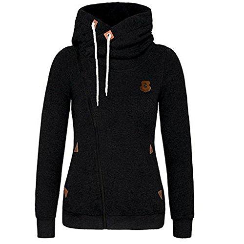 Seamido Femmes à manches longues pour les Sweatshirt chaud Hoodie casual Noir