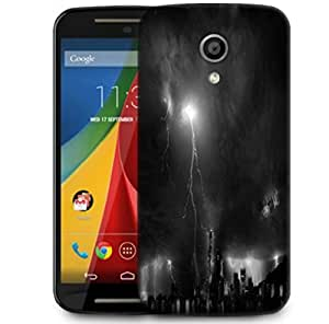 Snoogg Black Thunder Designer Protective Phone Back Case Cover For Motorola G 2nd Genration / Moto G 2nd Gen