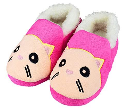 Tirzrro Girls Little/Big Kids Warm Plush Cat Slippers Indoor Outdoor Slip-on Shoes