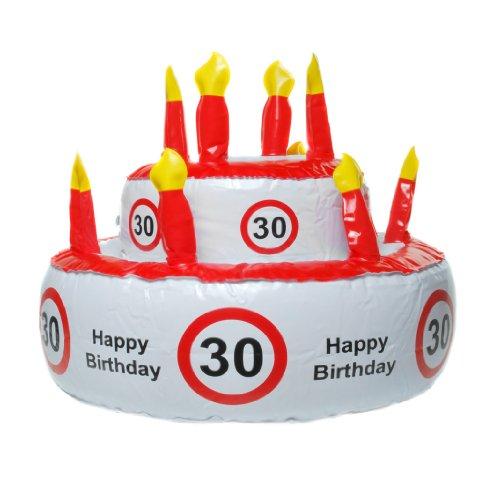 """Aufblasbare Geburtstagstorte """"30"""", kann auch als Hut genutzt werden"""