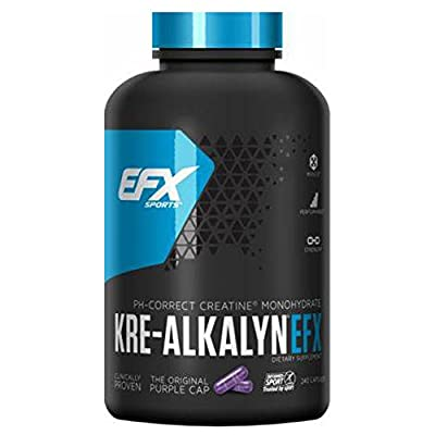 EFX SPORTS Kre-AlkalynEFX 1500mg 240 Capsules PH CORRECT CREATINE MONOHYDRATE Clinically Proven Alkalyn Trusted by Sport NO BLOATING, NO LOADING from All American