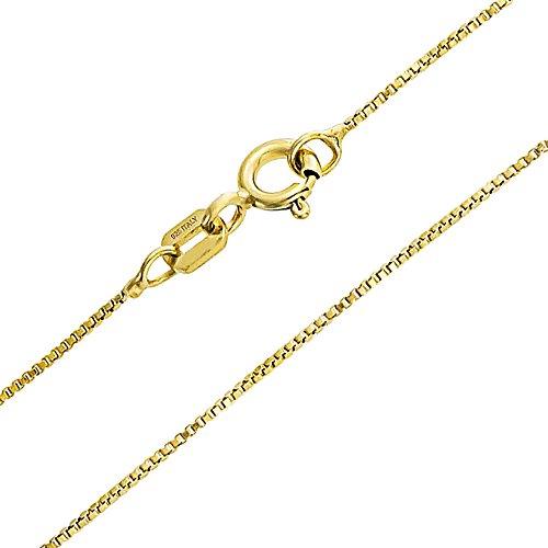 Box Kettenglied 1 MM Dünn 10 Gauge Kette Halskette Für Damen 14K Vergoldet 925 Silber Hergestellt In Italien 20 Zoll