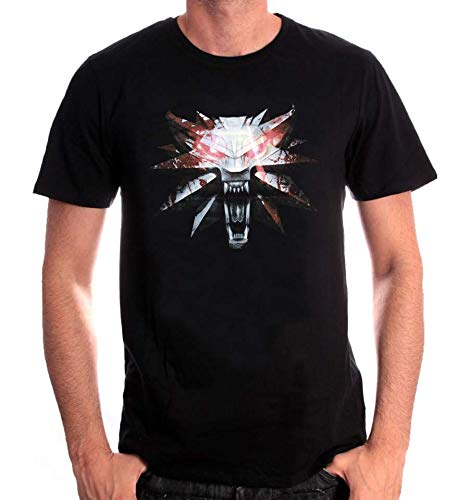 Witcher Wolf medallón camiseta Gaming Mode algodón negro - S