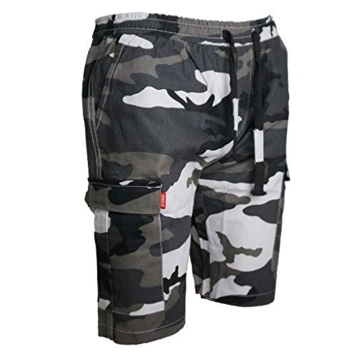 MOTOCO Herren Urban Tactical Shorts Herren Camo Shorts Cargo Combat Armee Halbe Hose Arbeitskleidung Camouflage Lässige Kordelzug Spitze Multi Pocket Sport Hose Tooling Shorts(4XL,Mehrfarbig) Leather Multi-strap
