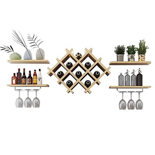 GYUEF Winerack Diamant Weinregal/Weinschrank Wandbehang Weinflaschenregal Wohnzimmer Massivholz Dekorative Rahmen Leiste Küche Trennwand Rahmen 5 Sätze (Log Farbe 129 * 36 * 20 cm) -